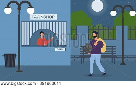 Pawnshop Criminal Practice Composition With Thief Bringing Stolen Items To Pawnbroker For Sale. Vect