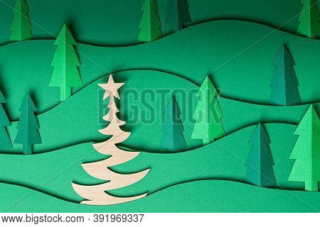 3d Pop Out Christmas Trees Paper Artwork In Green Background. Christmas Tree Paper Cutting Design Ca