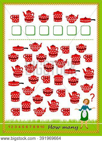 Math Education For Children. Count Quantity Of Dishes And Write Numbers. Development Counting Skills