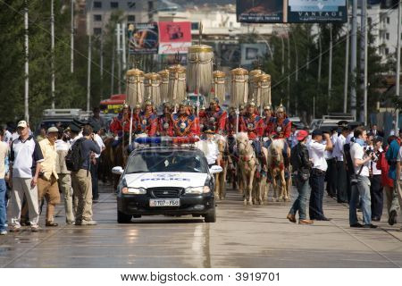 Nadaam Opening Ceremonies Parade And Police Car