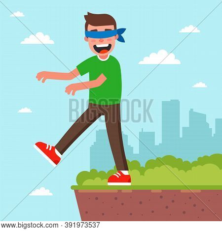 A Man With His Eyes Closed Can Fall Into Oblivion. Step Into The Unknown. Flat Vector Character Illu