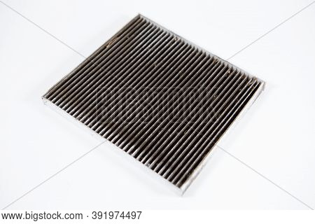Replacing The Air Filter . Detail, Dirty And Clogged Air Filter Surface. General Concept Of Car Main