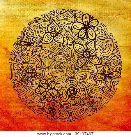 round floral abstract background pattern orange