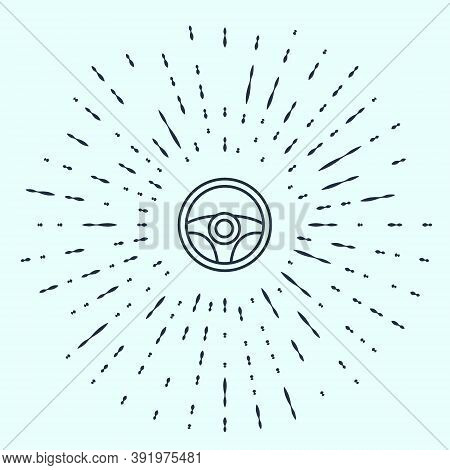 Black Line Steering Wheel Icon Isolated On Grey Background. Car Wheel Icon. Abstract Circle Random D