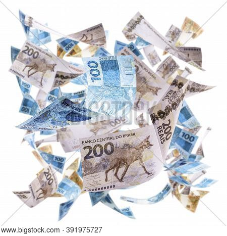 Rain Of Money From Brazil, Notes And Banknotes Of Two Hundred, One Hundred And Fifty Reais Falling,