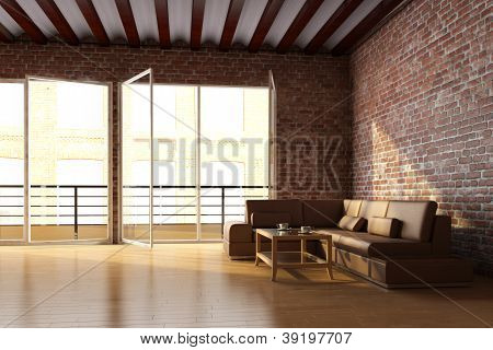 Loft Interior With Brick Wall