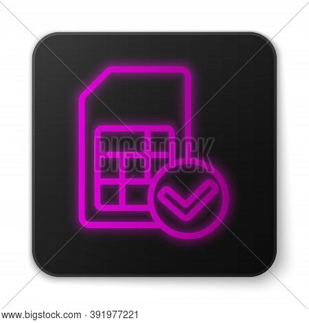 Glowing Neon Line Sim Card Icon Isolated On White Background. Mobile Cellular Phone Sim Card Chip. M