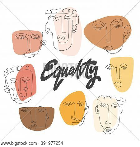 Equality. Hand Drawn One Line Faces Poster. Anti Racism