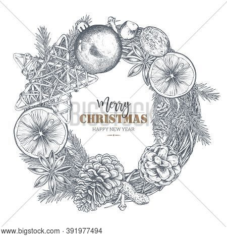 Template For Christmas Greeting Card With Hand Drawn Wreath. Black And White Vector Illustration.