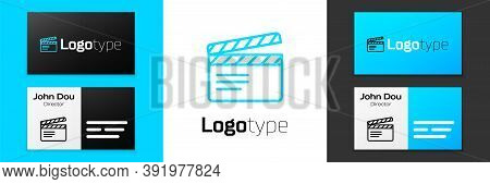 Blue Line Movie Clapper Icon Isolated On White Background. Film Clapper Board. Clapperboard Sign. Ci