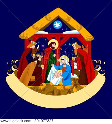 Christmas reeting card with a scene of the Nativity of Christ and Adoration of the Magi and retro ribbon banner isolated on dark blue background