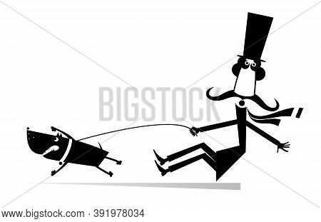 Funny Long Mustache And Disobedient Dog Illustration. Cartoon Long Mustache Man In The Top Tries To