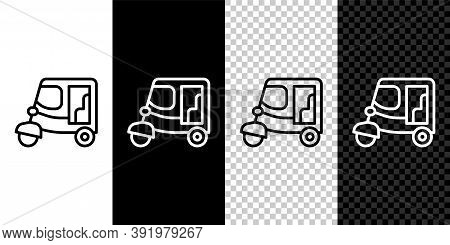 Set Line Taxi Tuk Tuk Icon Isolated On Black And White Background. Indian Auto Rickshaw Concept. Del