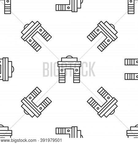 Grey Line India Gate In New Delhi, India Icon Isolated Seamless Pattern On White Background. Gate Wa