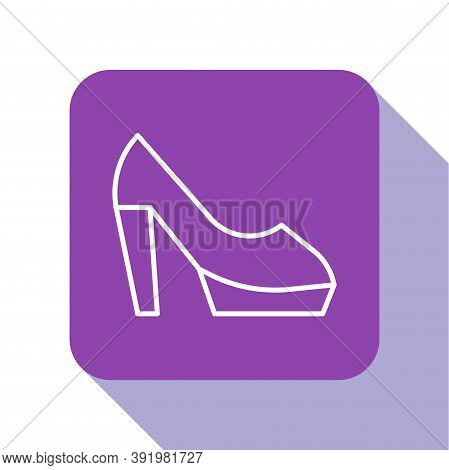 White Line Woman Shoe With High Heel Icon Isolated On White Background. Purple Square Button. Vector