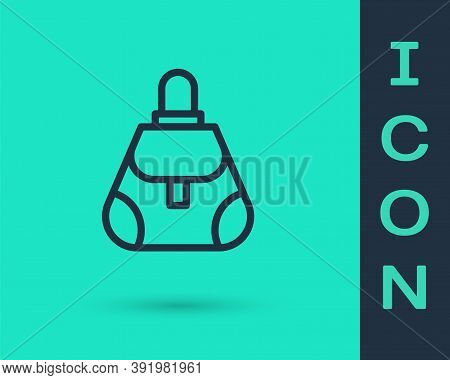 Black Line Handbag Icon Isolated On Green Background. Female Handbag Sign. Glamour Casual Baggage Sy