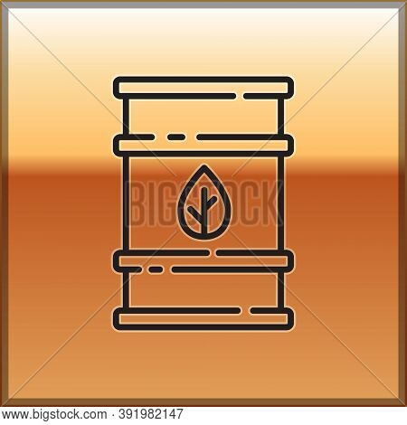 Black Line Bio Fuel Barrel Icon Isolated On Gold Background. Eco Bio And Canister. Green Environment