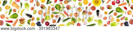 Panorama of collections vegetables and fruits separated by oblique lines on white background.