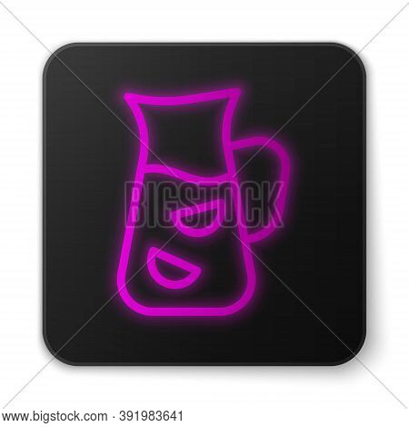 Glowing Neon Line Sangria Icon Isolated On White Background. Traditional Spanish Drink. Black Square