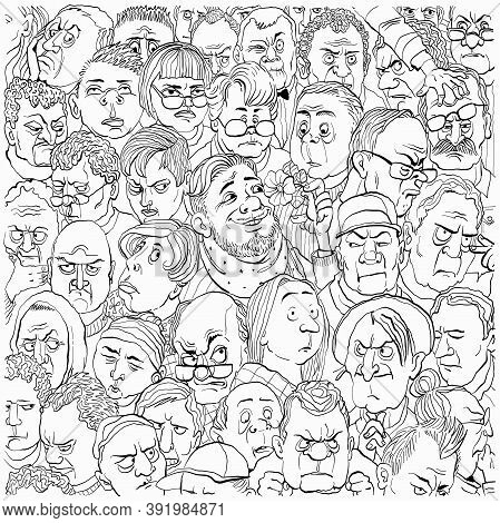 Vector Illustration. A Crowd Of Negative People. Among Them Is A Cheerful And Kind Person. The Conce