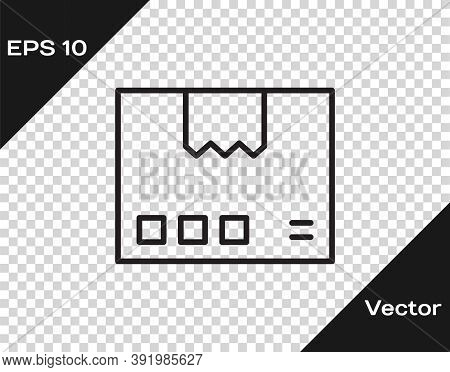 Black Line Carton Cardboard Box Icon Isolated On Transparent Background. Box, Package, Parcel Sign.