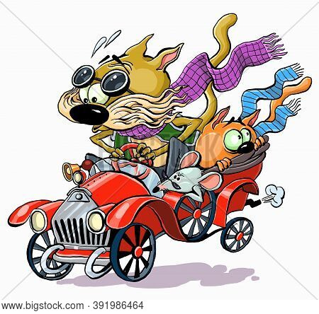 Vector Color Illustration. Funny Characters Of Cats Racing In An Old Retro Car.