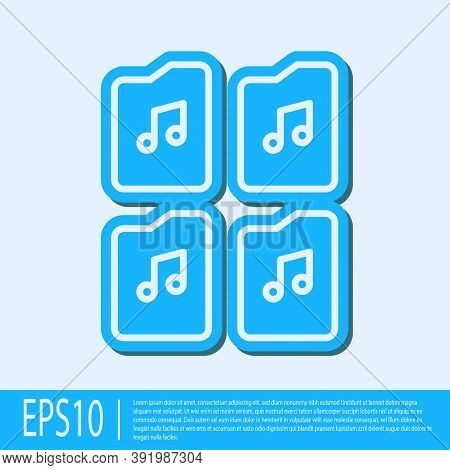 Blue Line Music File Document Icon Isolated On Grey Background. Waveform Audio File Format For Digit