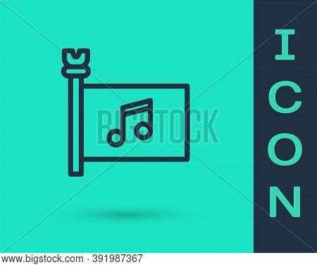 Black Line Music Festival, Access, Flag, Music Note Icon Isolated On Green Background. Vector