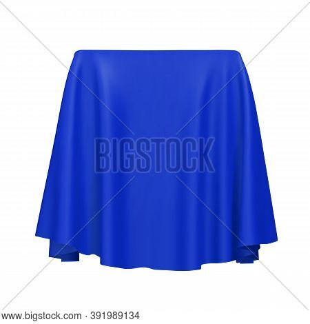 Blue Fabric Covering A Blank Template Vector Illustration