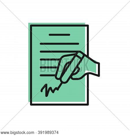 Black Line Petition Icon Isolated On White Background. Vector