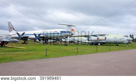 July 18, 2018, Moscow Region, Russia. Soviet Turboprop Passenger Aircraft Tupolev Tu-114 At The Cent