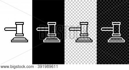 Set Line Judge Gavel Icon Isolated On Black And White Background. Gavel For Adjudication Of Sentence
