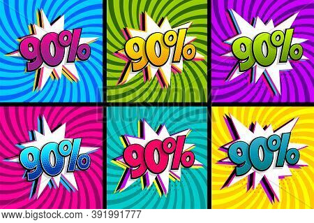 Comic Text 90 Percent Quality Set. Colored Speech Bubble On Radial Background. Comics Book Explosion