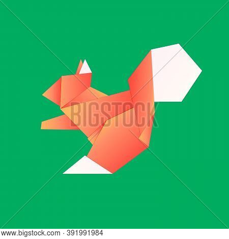 Vector Illustration Of An Origami Squirrel Colored In Orange. It Can Be Used In Advertising, Origami