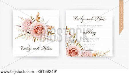 Vector Wedding Invite Card, Design. Blush Peach Flowers, Ivory White Rose, Autumn Brown, Beige, Oran