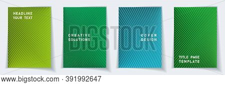 Cover Page Flat Layout Vector Design Set. Crossed Lines Dynamic Background Patterns. Catalog Templat