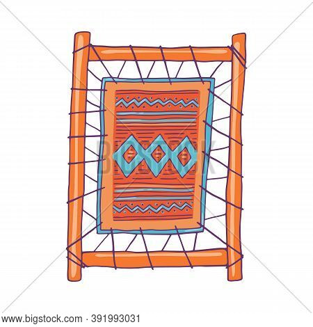 Loom Frame With Woven Fabric Sketch Cartoon Vector Illustration Isolated.