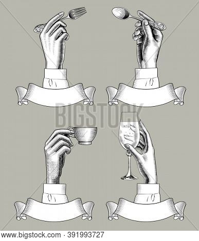 Hands holding spoon, fork, coffee cup and vine glass over retro ribbon banners. Vintage engraving stylized drawing