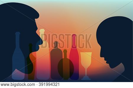 Drunk Man Aggresive Shouting, Screaming At Woman. Domestic Violence. People Profile Heads. Vector Ba