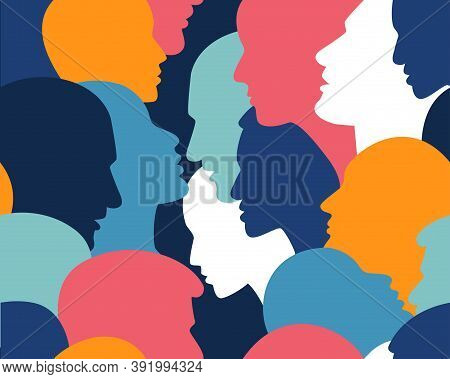 People Profile Heads. Seamless Pattern Of A Crowd Of Many Different People Profile Heads. Vector Bac