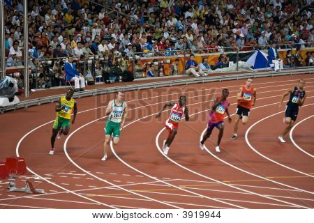 Athletes Race In Mens 220M Sprint