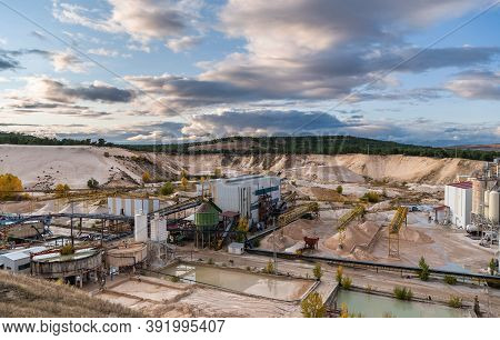 Industrial Landscape Of A Silica Sand Open Pit Mine