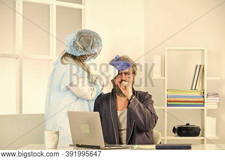 Detection Of Coronavirus. Self Isolation. Doctor Protective Equipment Examines Patient Suspected Cor
