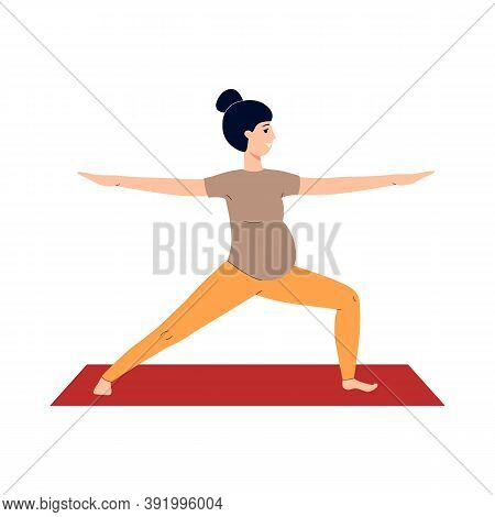 Pregnant Woman Does Prenatal Yoga During Pregnancy A Vector Illustration