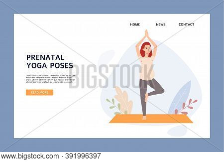 Prenatal Yoga Poses Website Header With Pregnant Woman Flat Vector Illustration.