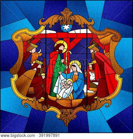 Stained glass window depicting Christmas scene in decorative baroque frame on blue background
