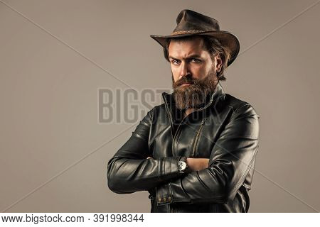 Cowboy Couture. Modern West Lifestyle. Serious Brutal Bearded Man. Handsome And Successful Man In Co