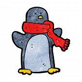 penguin wearing scarf poster