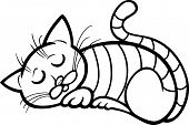 Cartoon Illustration of Sleeping Tabby Cat for Coloring Book poster