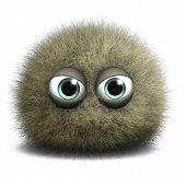 3 d cartoon cute furry ball monster toy poster